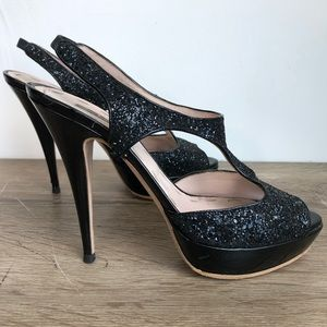 2337d281c4 Miu Miu Shoes | Glitter Crystal Strappy Closed Toe Pumps | Poshmark